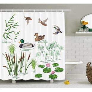 Best Deals Oak Lake Animals Plants Lily Shower Curtain ByWinston Porter