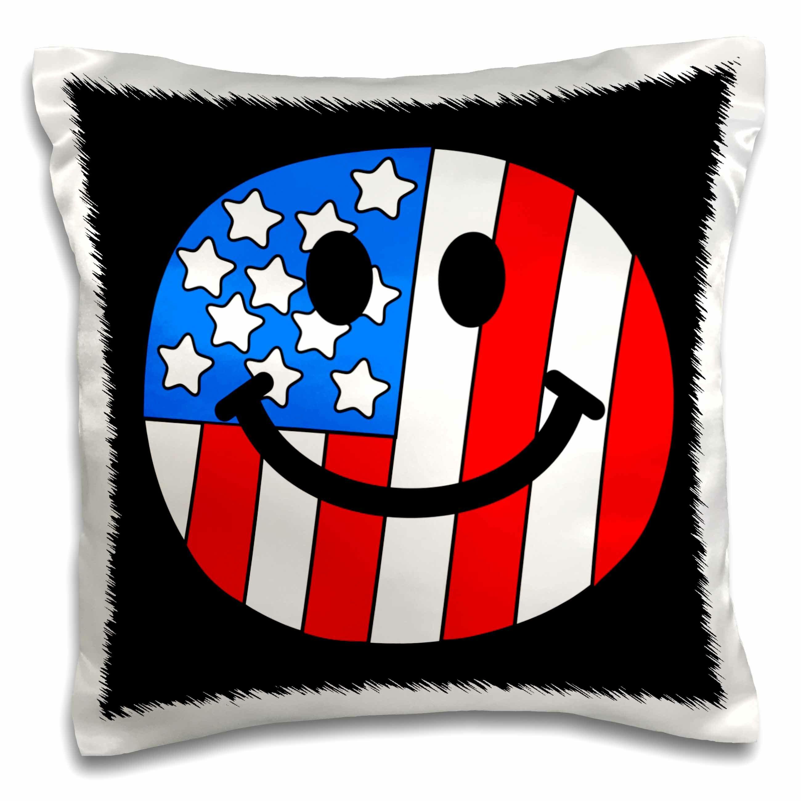 East Urban Home American Flag Smiley Face Pillow Cover Wayfair