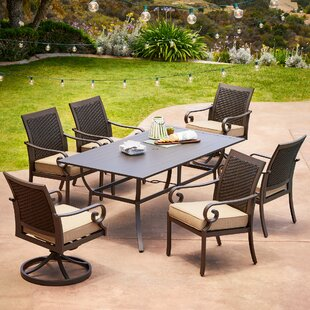 Bayou Breeze Kingston Seymour Milano 7 Piece Dining Set with Cushions