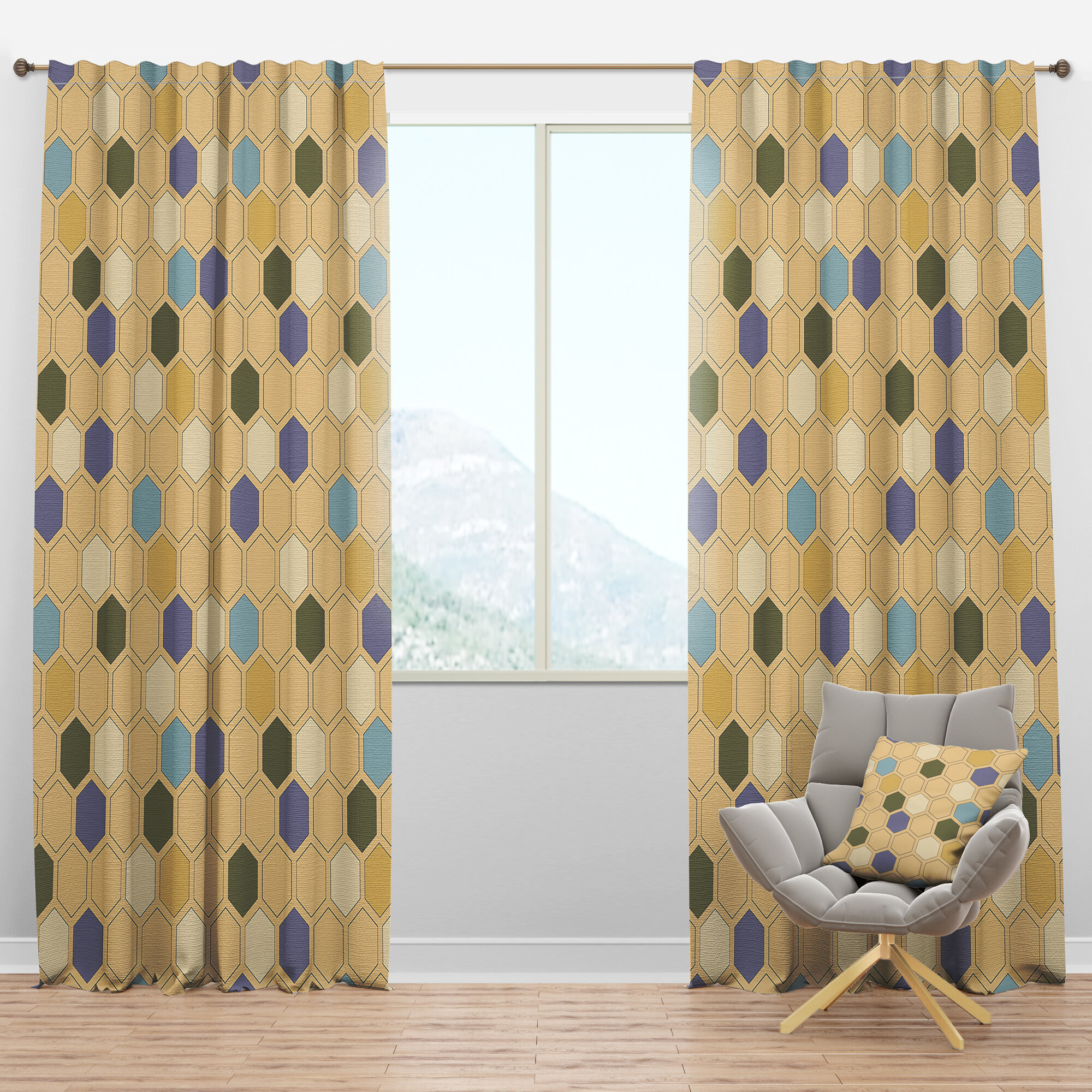 Designart Mid Century Hexagon Geometric Semi Sheer Thermal Rod Pocket Single Curtain Panel Wayfair