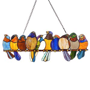 'Birds On A Wire' Tiffany Style Stained Glass Window Panel