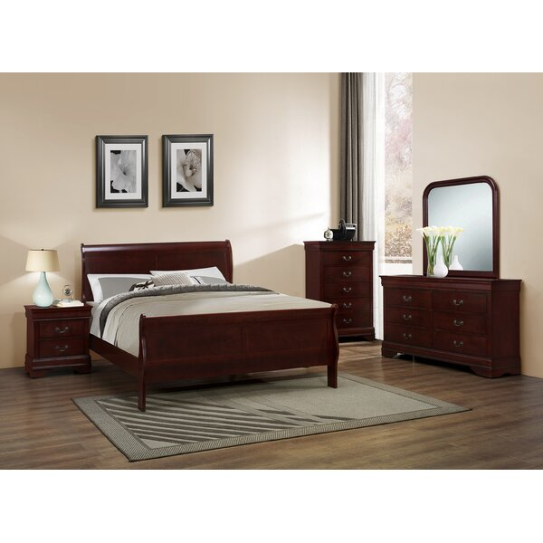 Roundhill Furniture Isola Louis Philippe Sleigh Configurable Bedroom Set U0026  Reviews | Wayfair