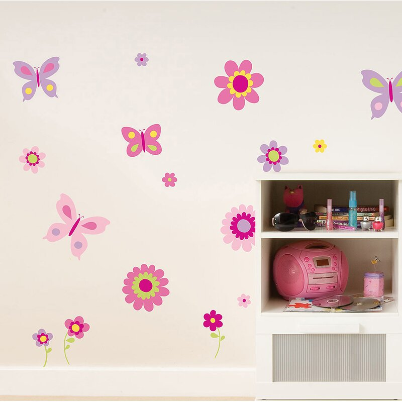 Brewster Home Fashions Euro Flowers And Butterflies Wall