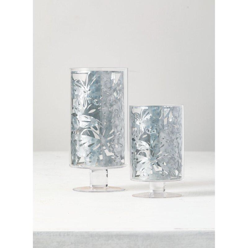 Rosalind Wheeler 2 Piece Pillar Glass Hurricane Set Wayfair