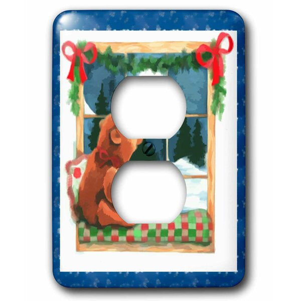3drose Adorable Bear Waiting On Santa In The Moonlight 1 Gang Duplex Outlet Wall Plate Wayfair