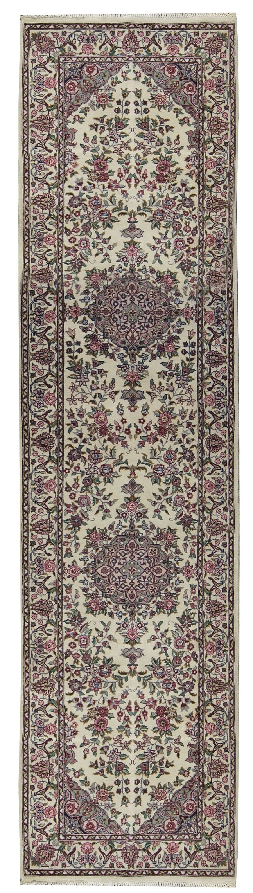 Bokara Rug Co Inc One Of A Kind Jahan Hand Knotted Ivory Green Pink 2 6 X 10 Runner Wool Area Rug Wayfair