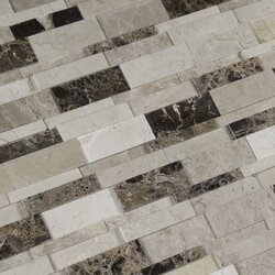 asteria blend 3d marble mosaic tile in beigebrown - Marble Mosaic Tile