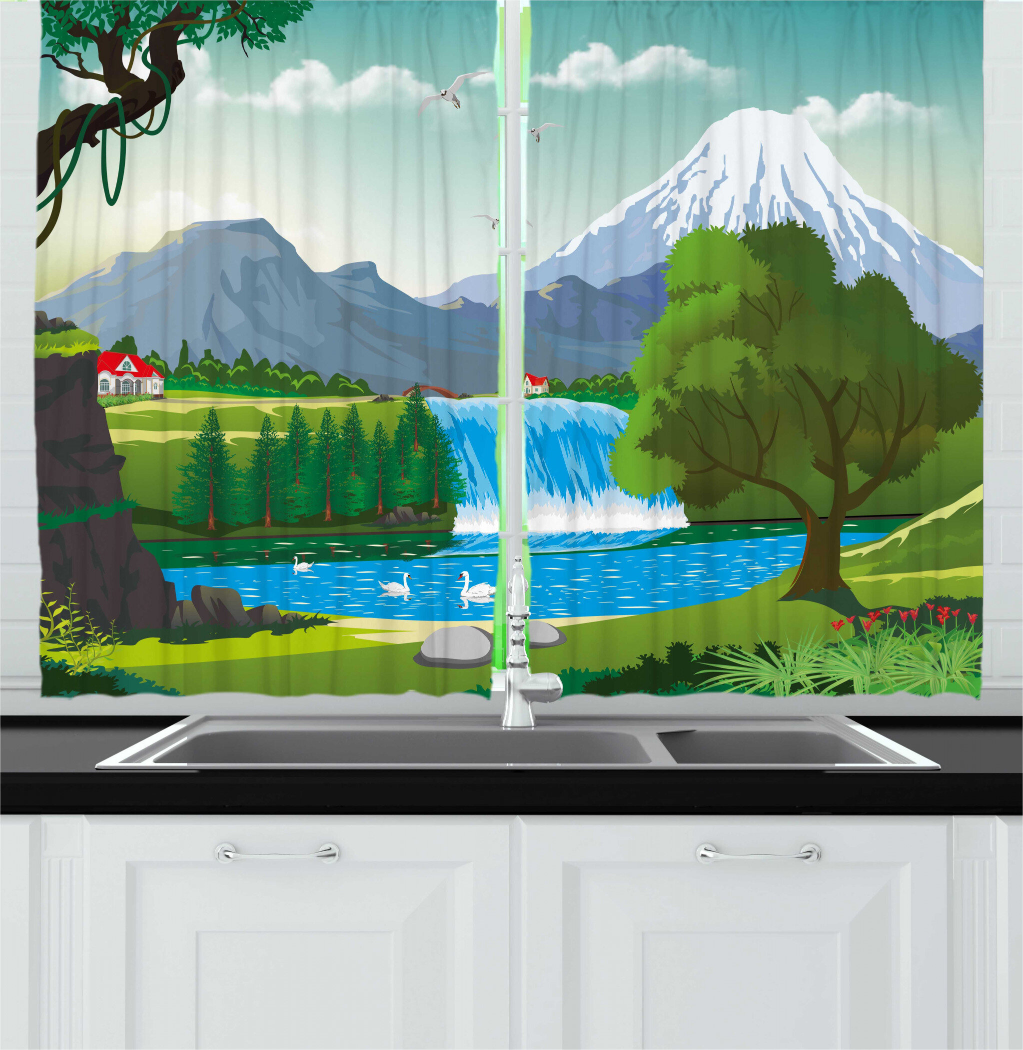 East Urban Home 2 Piece Travel Cartoon Style Landscape Of A Lake Near A Waterfall With Mountains On The Back Kitchen Curtain Set Wayfair