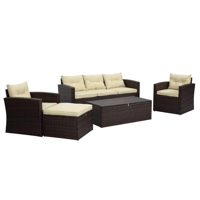 Sol 72 Outdoor  Arlington 5 Piece Sofa Set with Cushions