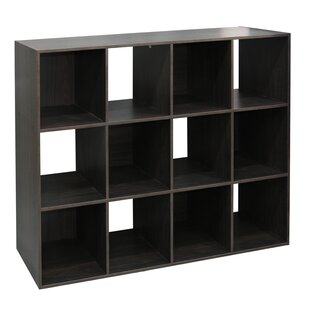 Emilee Stackable 12 Open Cube Modern Wood Organizer, Espresso
