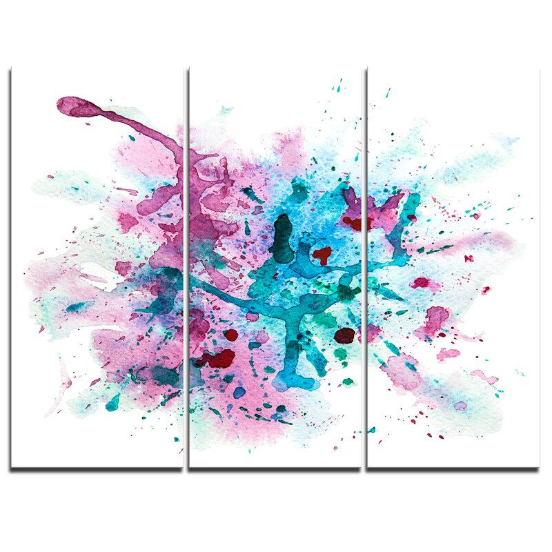 Designart Blue And Purple Paint Stain 3 Piece Painting Print On Wrapped Canvas Set Wayfair