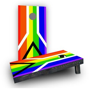 Custom Cornhole Boards Gay Pride Rainbow Flag with Peace Sign Cornhole (Set of 2)