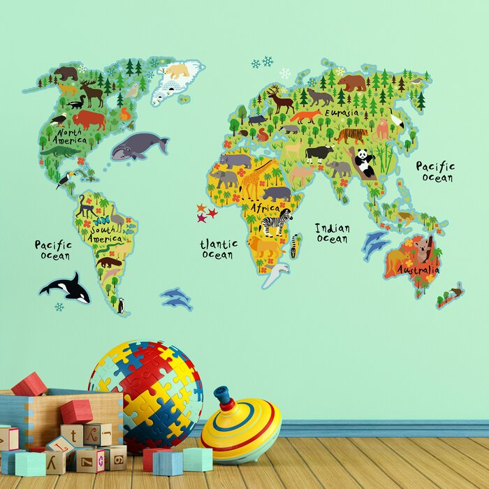 Home Decor Line Kids World Map Wall Decal