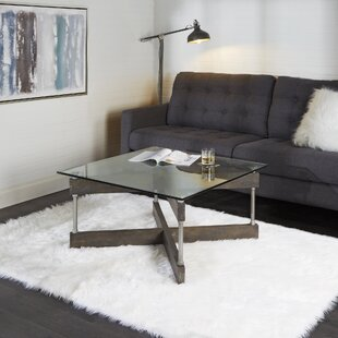 Reiner X-Frame Glass And Wood Coffee Table by Williston Forge Cheap