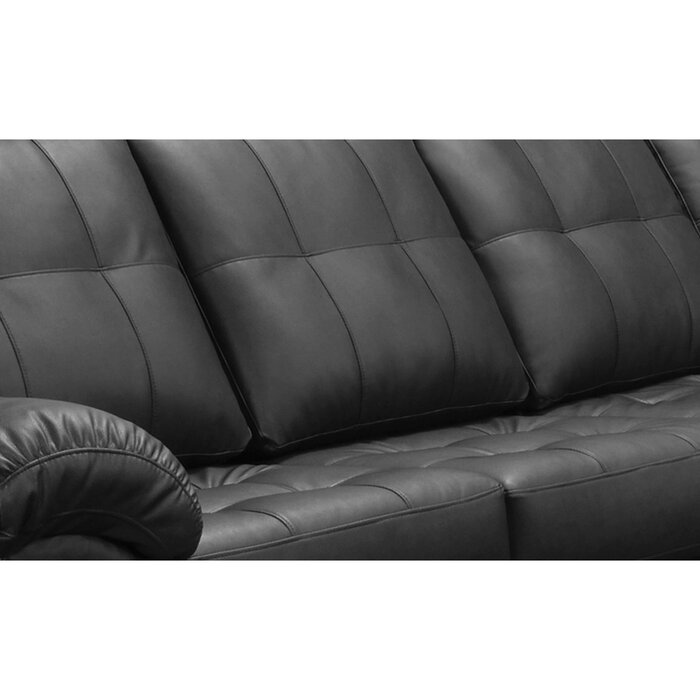 Yarber Right Hand Facing Leather Sectional with Ottoman