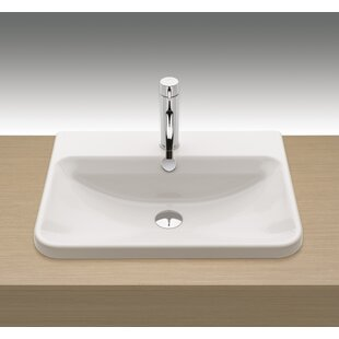 Price comparison Emma Vitreous China Rectangular Drop-In Bathroom Sink with Overflow By Bissonnet