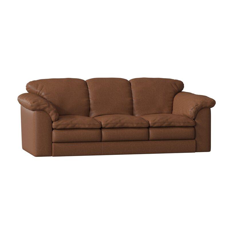 "Omnia Leather Oregon 92"" Wide Genuine Leather Pillow Top Arm Sofa & Reviews | Perigold"