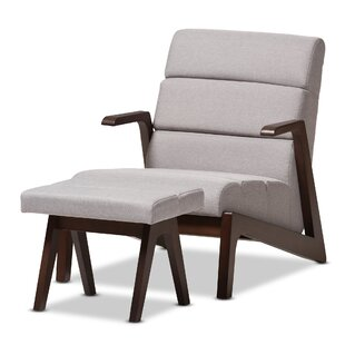 Wholesale Interiors Lazzaro Mid-Century Modern Lounge Chair and Ottoman