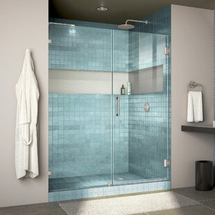 Unidoor Lux 56 x 72 Hinged Frameless Shower Door with Clearmax™ Technology