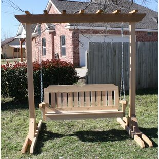 August Grove Oettinger Freestanding Cedar Porch Swing with Stand
