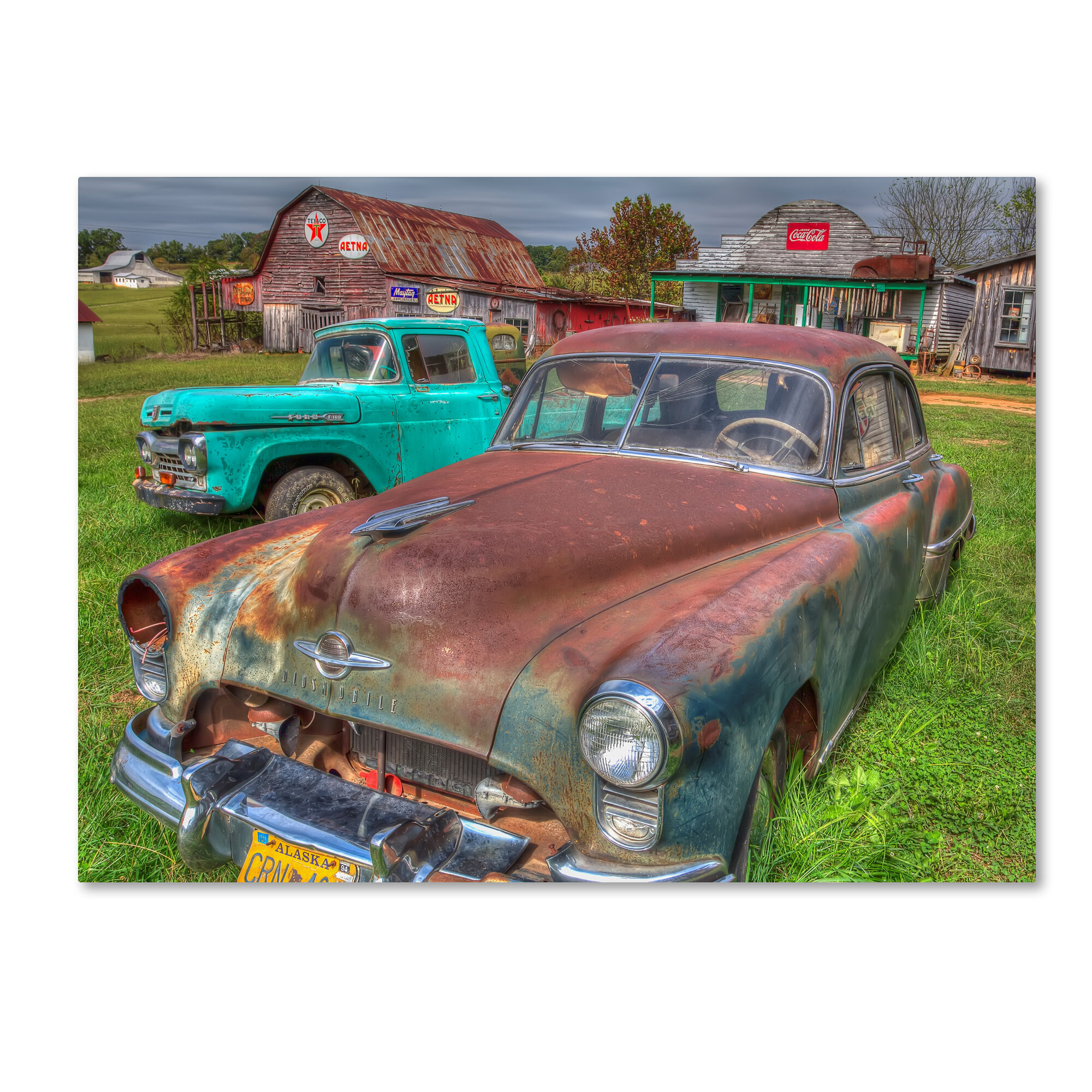 Trademark Art Olds And Ford Graphic Art Print On Wrapped Canvas Wayfair