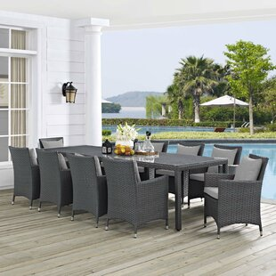 Brayden Studio Tripp 11 Piece Dining Set with Sunbrella Cushions