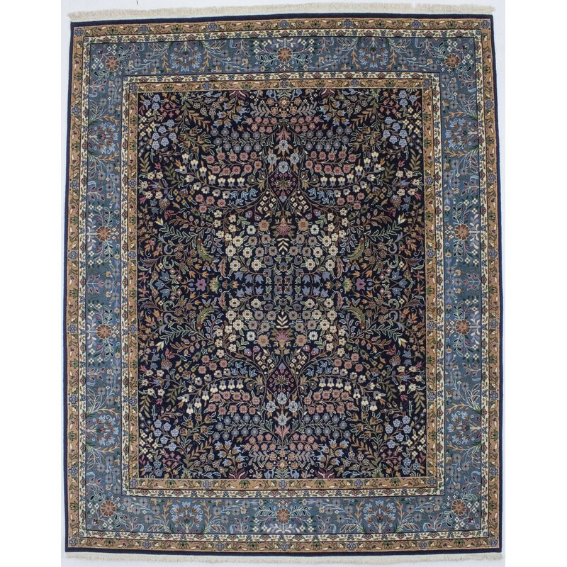 Charlton Home Denys Floral Hand Knotted Wool Navy Blue Area Rug Wayfair