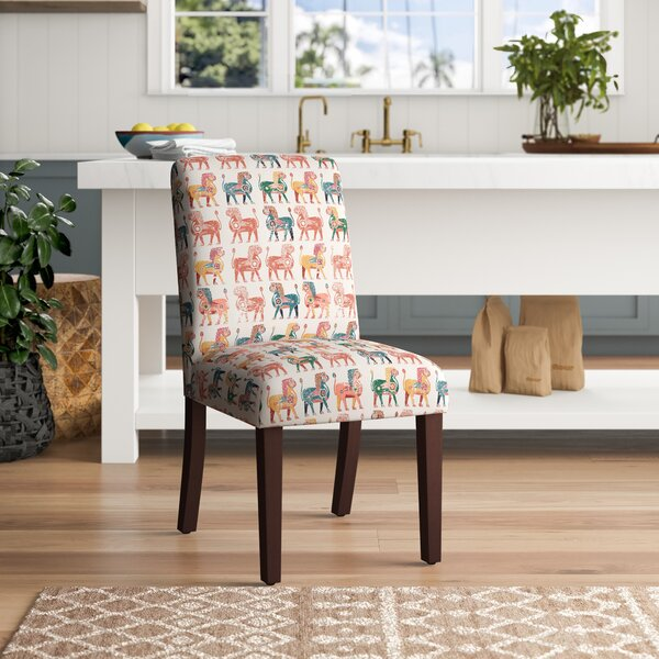 World Menagerie Carvey Cotton Upholstered Parsons Chair In Multicolor Wayfair