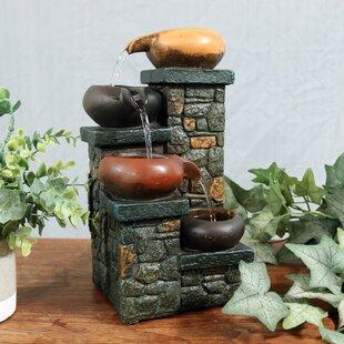 Attirant Braydon Fiberglass Tiered Pitchers On Brick Steps Tabletop Fountain With  Light