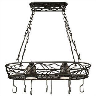 Easton Lighted Hanging Pot Rack