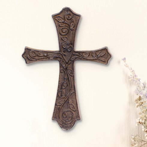Large Rustic Flared Cast Metal Cross Wall Décor