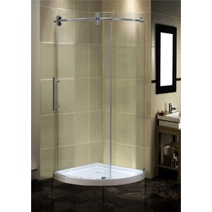 Orbitus 36 x 36 x 75 Completely Frameless Round Shower Enclosure with Base, Left Hand Aston