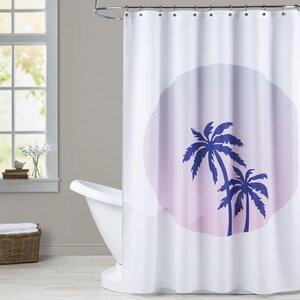 Ashlee Rae Palm Tree Circle Shower Curtain Brayden Studio
