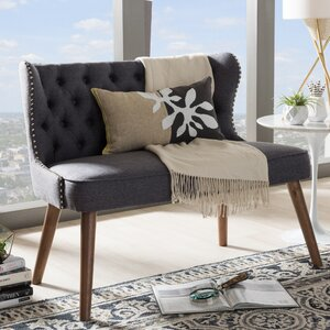 Sempronius Wood Upholstered Button-Tufting Loveseat by Gracie Oaks