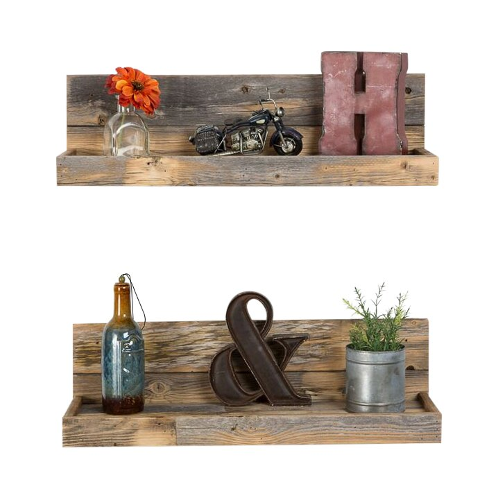 2 Piece Reclaimed Floating Shelf Set - Laurel Foundry Modern Farmhouse™ 2 Piece Reclaimed Floating Shelf
