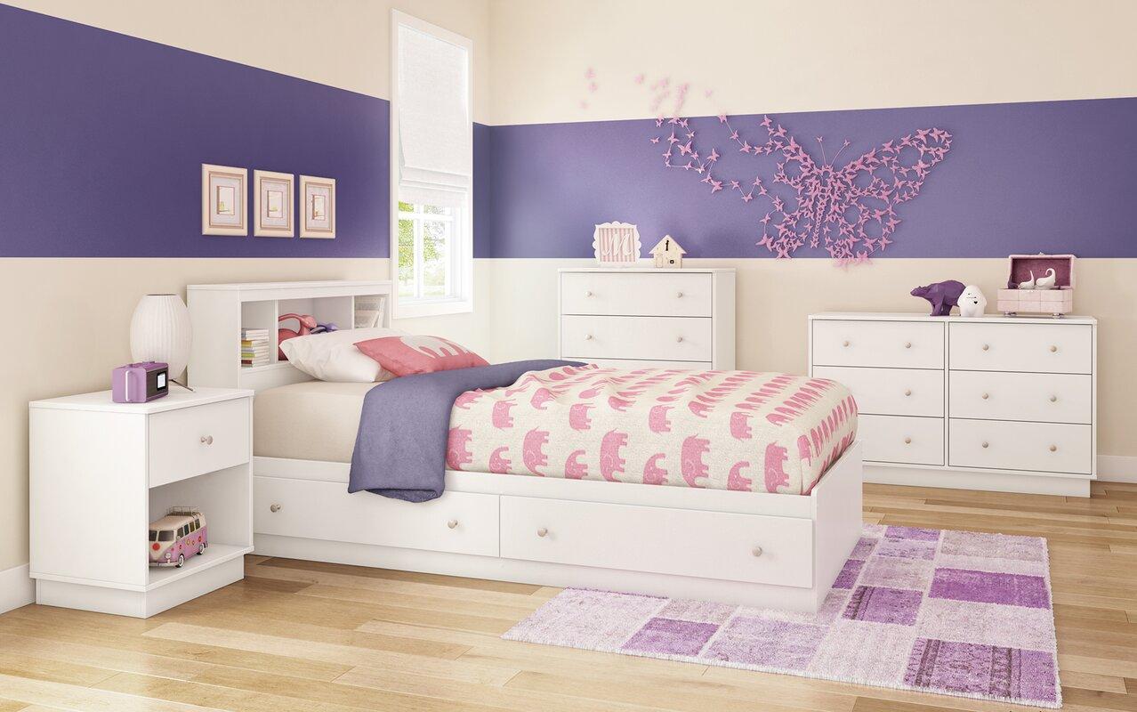 south shore litchi twin platform customizable bedroom set