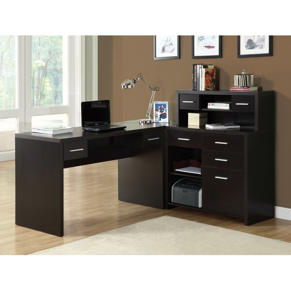 Brayden Studio Covey Home Office L Shaped Computer Desk With Hutch U0026  Reviews | Wayfair