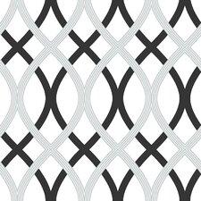 """Black and Silver 18' x 20.5"""" Lattice Wallpaper Roll"""