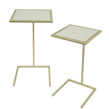 Square Metal Mirror Top 2 Piece Nesting Tables by Three Hands Co.