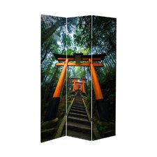 71 x 38.75 Tall Double Sided Japanese Torii Gate Canvas 3 Panel Room Divider by Oriental Furniture