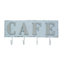 Metal Cafe Sign Wall Mounted Coat Rack by American Mercantile