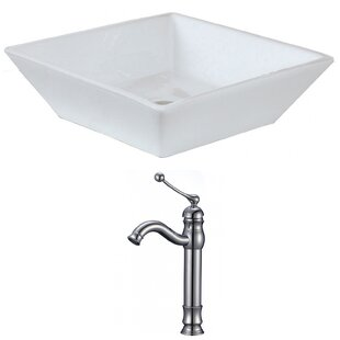Ceramic Square Vessel Bathroom Sink with Faucet by American Imaginations