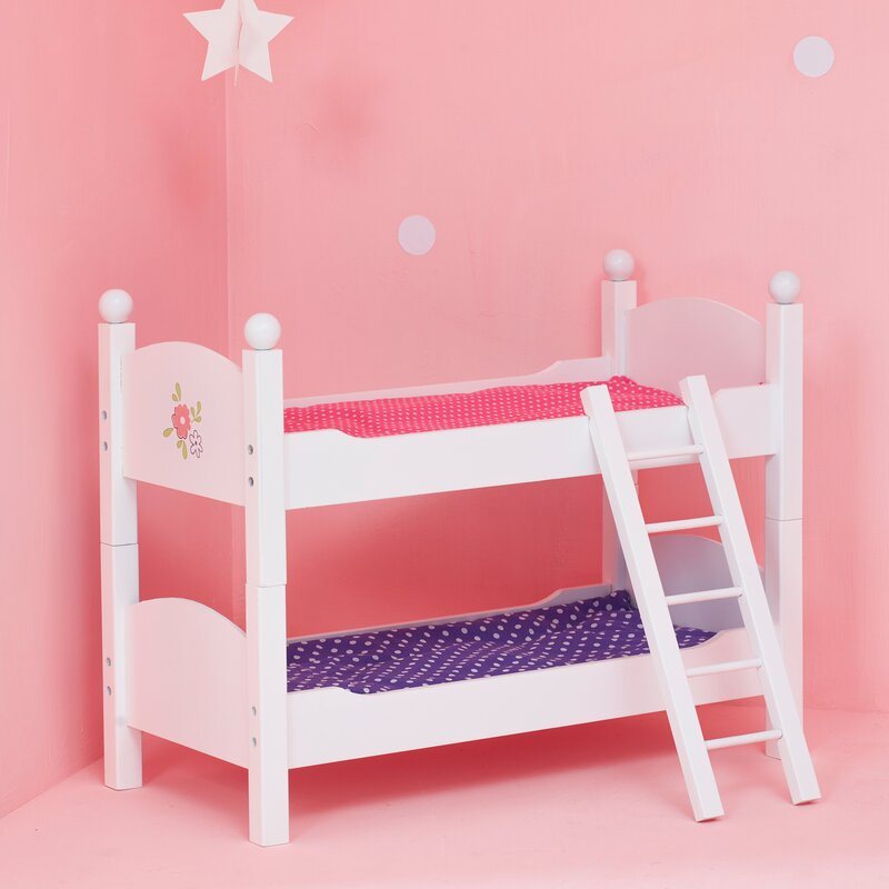 18 Inch Doll FurnitureLovely Pink and White Bunk Bed with Beautiful Butterfly