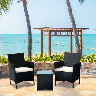 Brogdon 3 Piece Rattan Conversation Set with Cushions