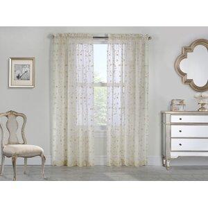 Meriwether Nature/Floral Sheer Rod Pocket Single Curtain Panel