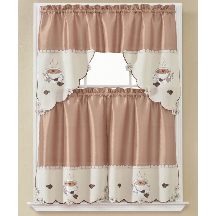 Viaan Morning Coffee 3 Piece Kitchen Curtain Set