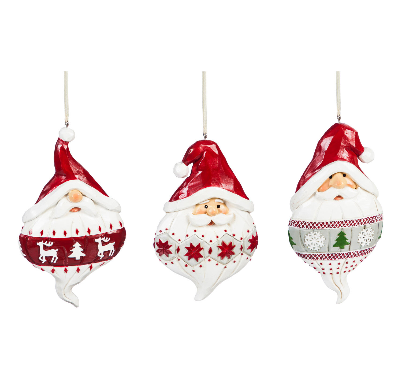 The Holiday Aisle 3 Piece Santa Hanging Figurine Ornament Set Reviews Wayfair