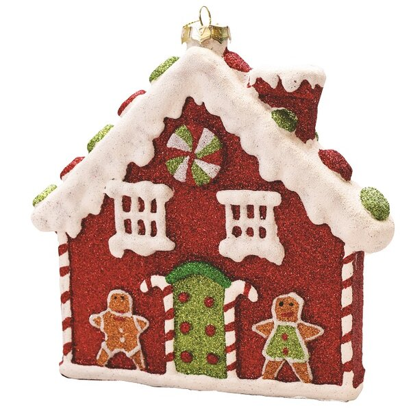 the holiday aisle merry and bright glitter shatterproof gingerbread house christmas ornament wayfair - Gingerbread House Christmas Decorations