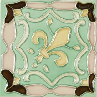 Hand Painted 6 X Ceramic Field Tile In Flur De Lis