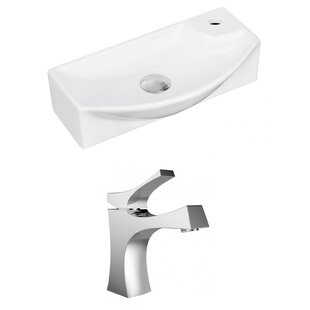 Ceramic 17.75 Wall Mount Bathroom Sink with Faucet Royal Purple Bath Kitchen